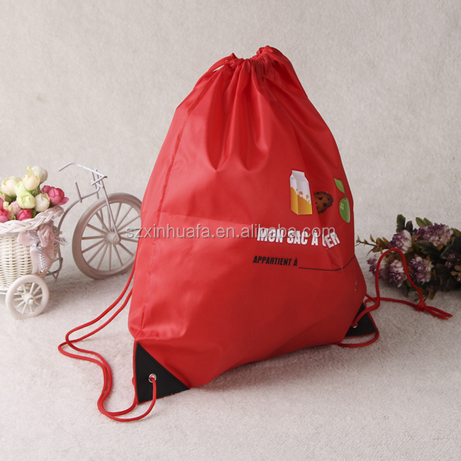 High Quality Printed 210D Polyester Drawstring Bags