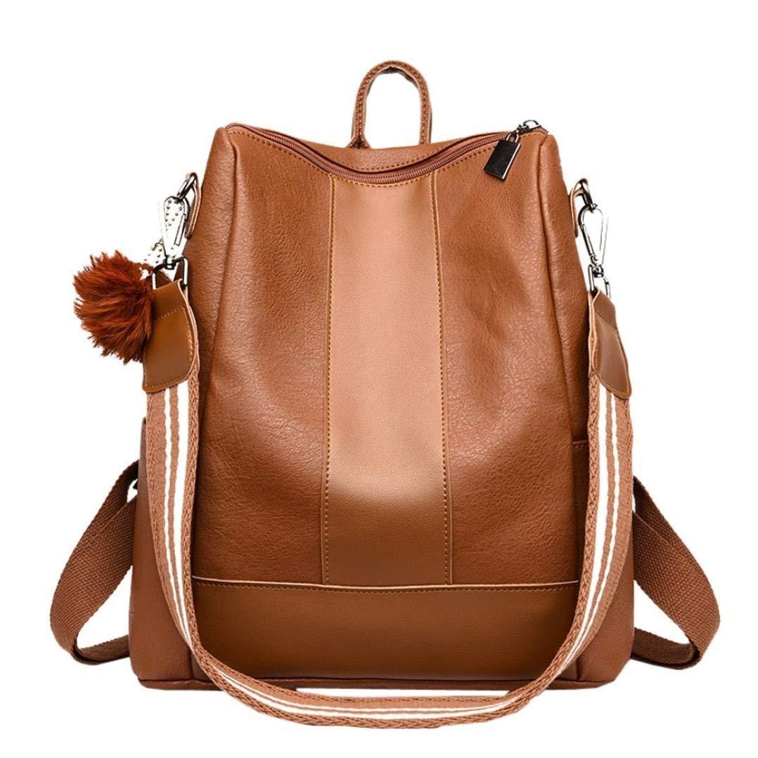 Sameno Hairball Leather School Bag Backpack Satchel Travel Shoulder School Bag Girl Women (Brown)