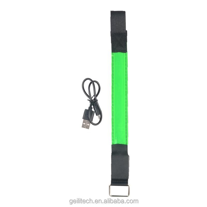 Veiligheid Night Sport USB Oplaadbare LED Knippert Rooster Armband