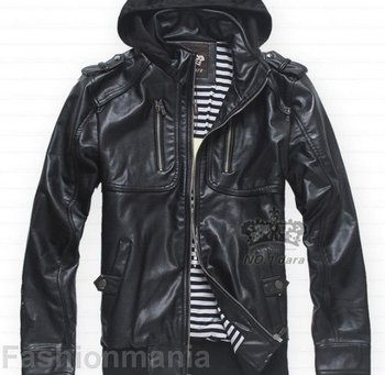 f064907ff90b9 Mens Slim Fit Pu Leather Strip Hooded Jacket Black 005 - Buy Leather ...