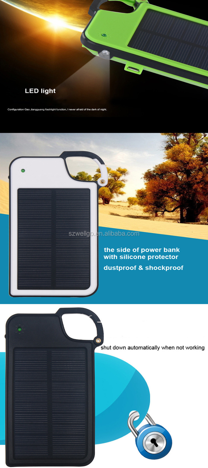Print Logo Mobile Solar Power Bank key Chain 5050mAh with Outdoor LED Light Portable Solar Charger