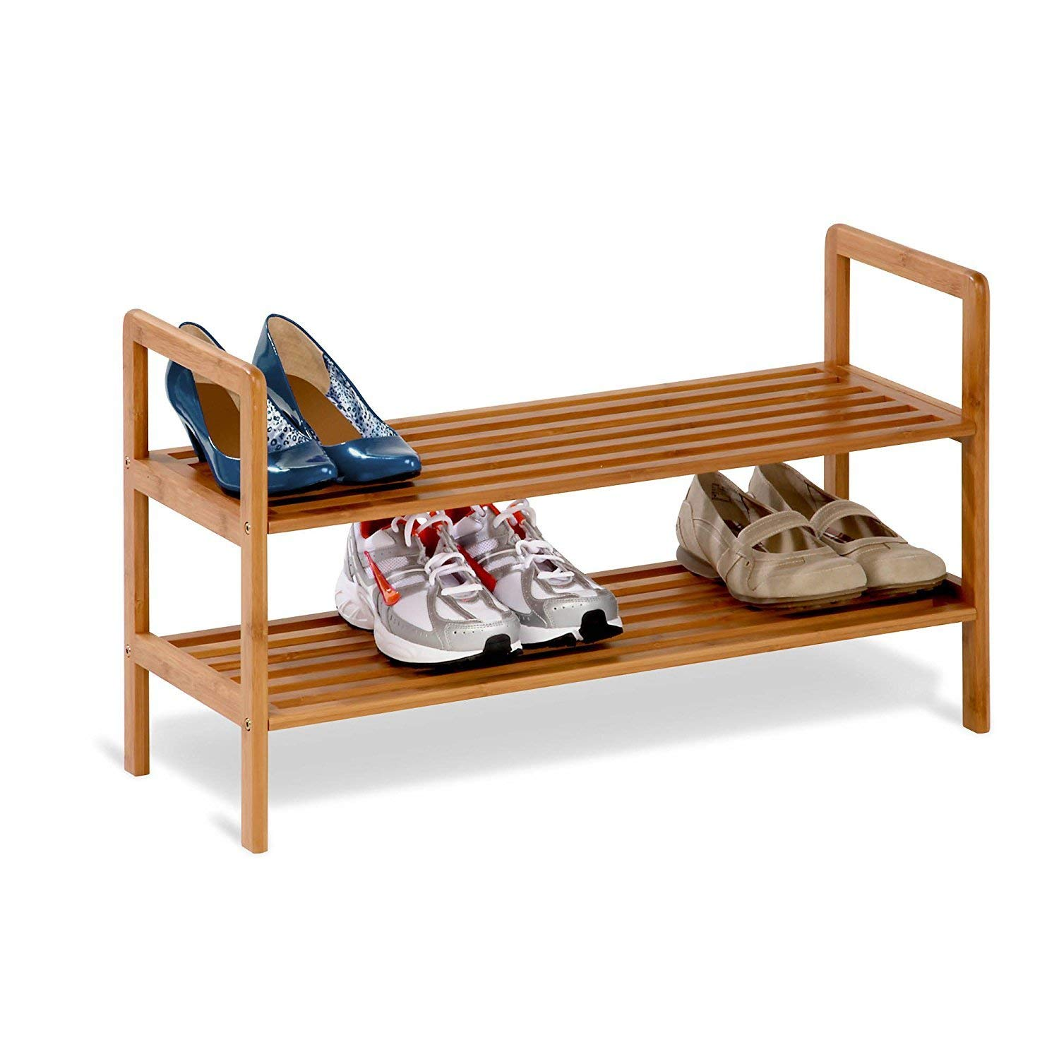 By-Honey-can-do Mens Shoe Rack, Bamboo Two-tiered Womens Entryway Organizer Shoe Rack