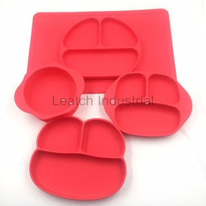 Hot Sale 4pcs Red food grade baby silicone tableware