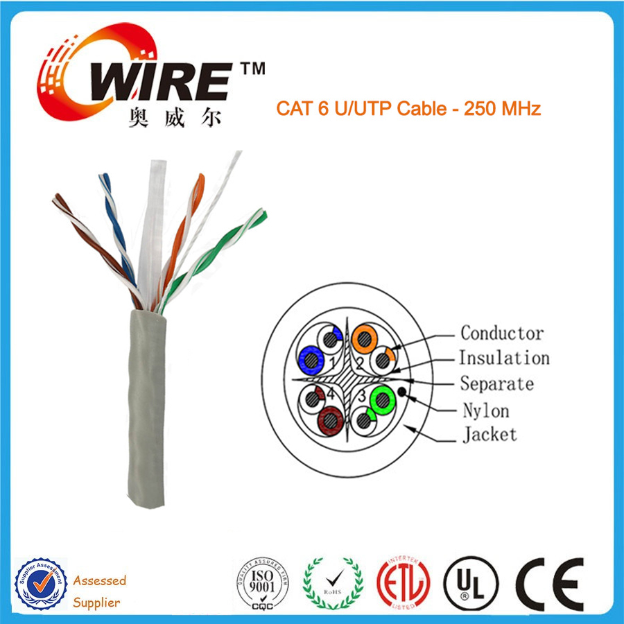 Owire 4 Pair Solid Copper Twisted Wire 1000ft Lszh Cat6 Network ...