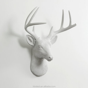 Wall Mounted White Ceramic Deer Head For Home Decoration Figurine In