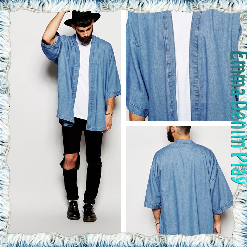 Light Blue Men Fashion Trend Chic Designer Short Sleeves Denim Long Jackets Coats