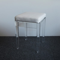 luxury acrylic stool with removeable cushion PMMA lucite bathroom stool clear top quality from China