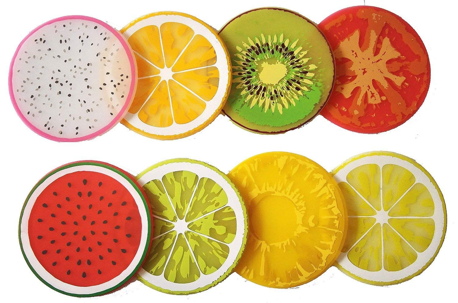 8Pcs Da.Wa Creative Colorful Fruit Silicone Non-Slip Heat Insulation Cup Coasters Tabletop Cup Mat Bowls Mat