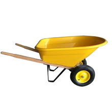 Wooden Handle Plastic Tray Two-Wheel Power Wheelbarrow WH8802 for Sale