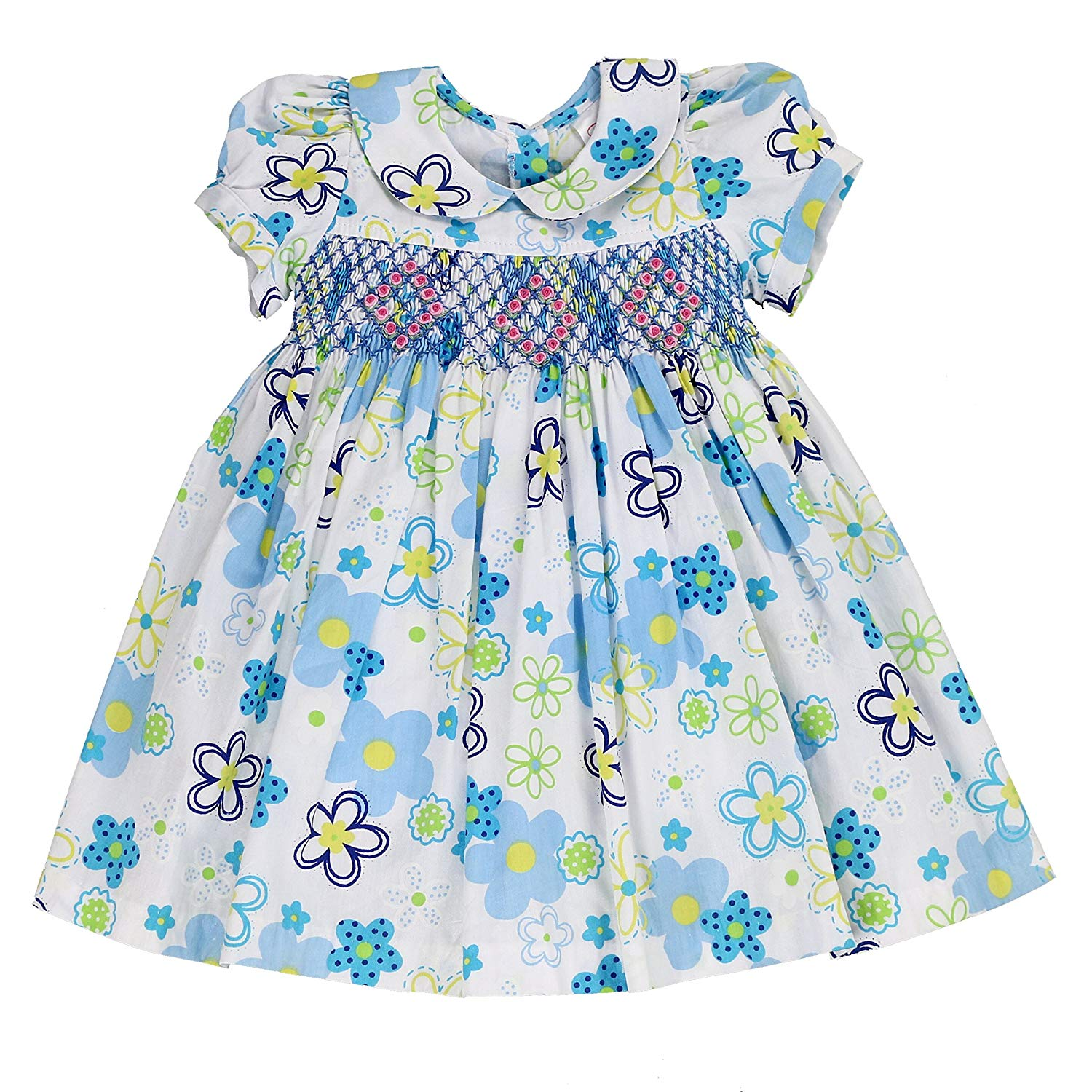 b0d24e1c5 Get Quotations · sissymini Infant & Toddler Hand Smocked Dress Patrycja  Hana In Gorgeous Blue Floral