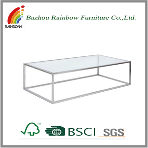 tempered animal glass coffee table with stainless base/metal coffee table