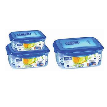 3 Pieces Rectangular Plastic Food Container Storage Box Leak Proof