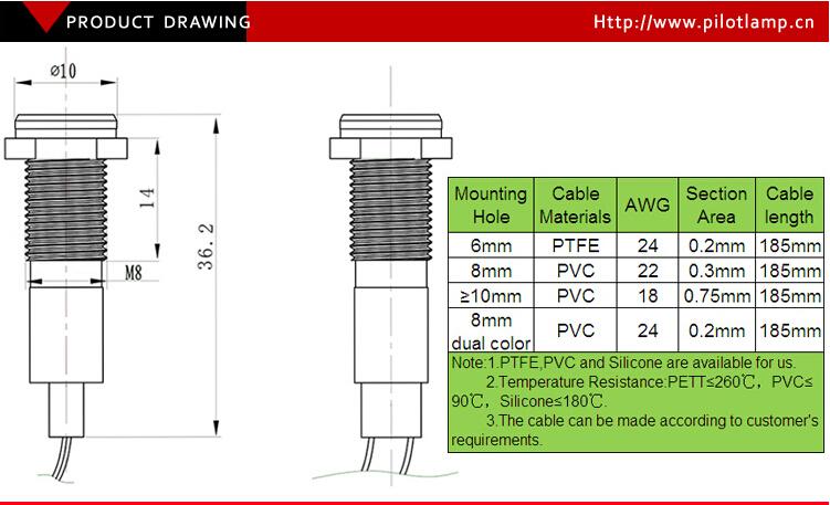 Metal Red Green 8mm Dia Universal Voltage 120/240 Vac Led Light ...