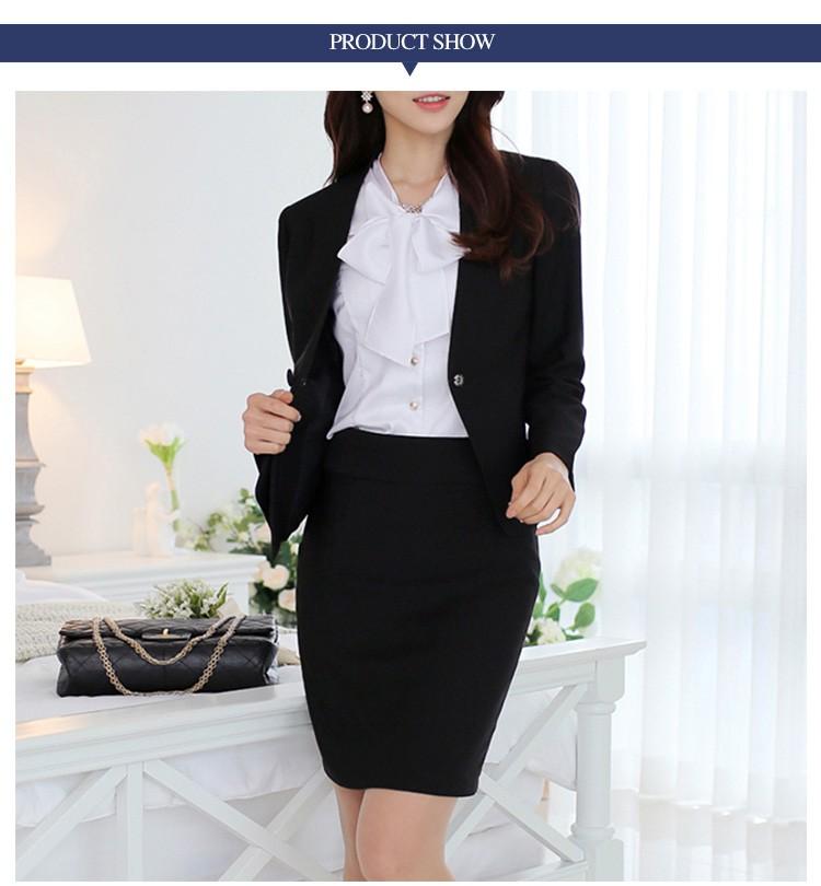 Chaqueta Para Mujer Formal Slim Negro Falda De Las Señoras Trajes De ... 05f96d483b1c