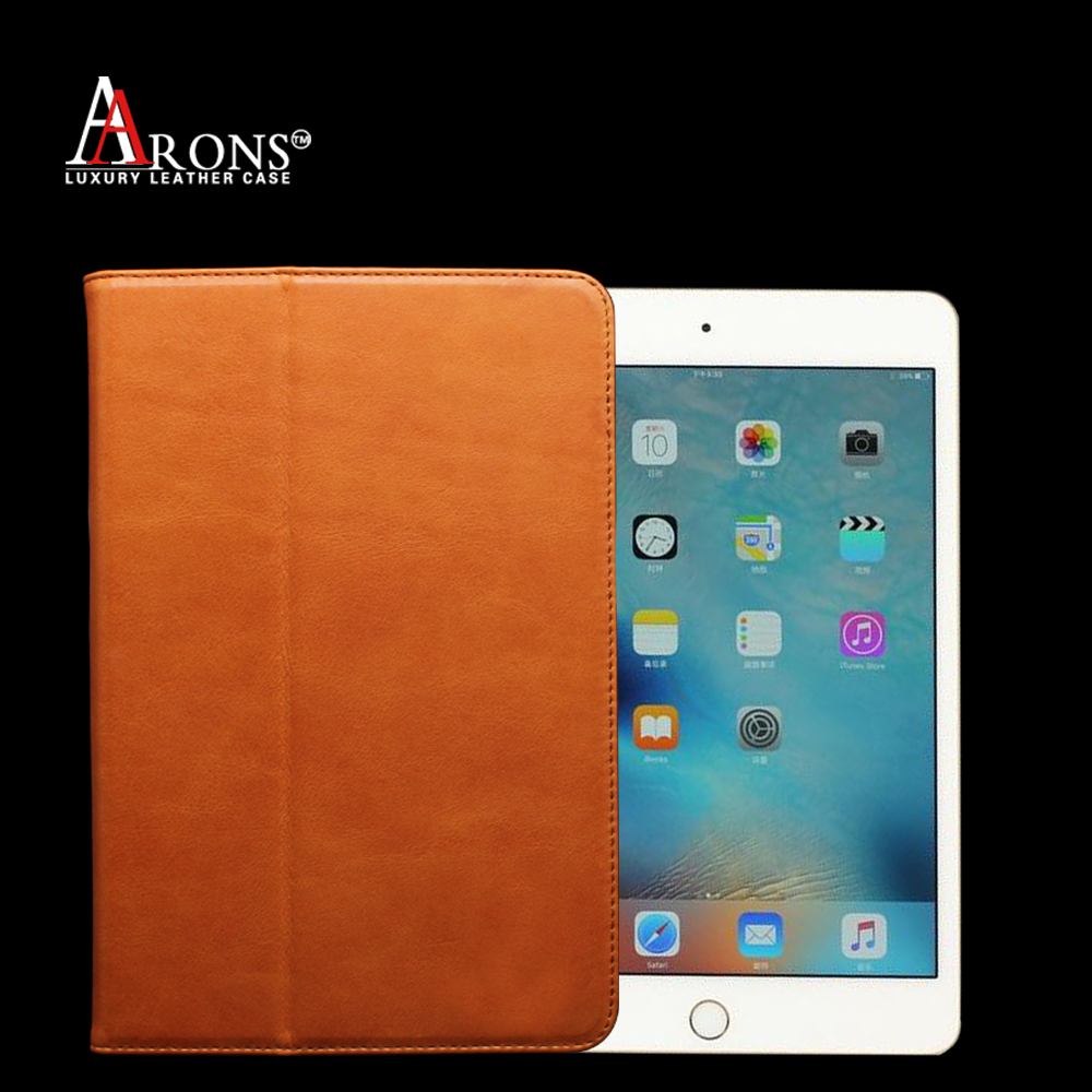 Premium book opening genuine leather case for ipad mini 4 case