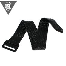 New design high quality black color elastic waist webbing belt with metal buckle