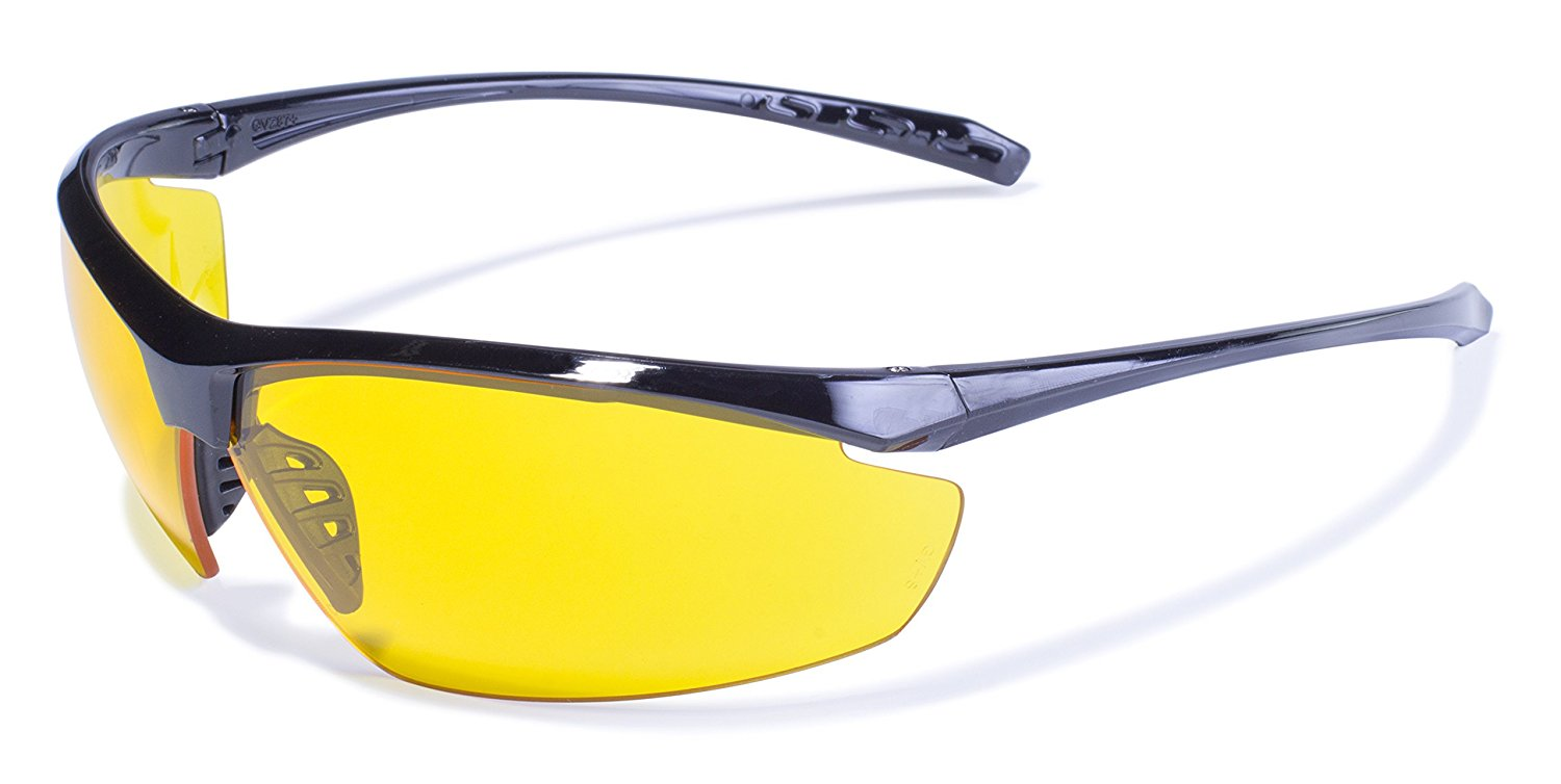 Global Vision Eyewear Lieutenant Safety Glasses with Gloss Black Frames and Yellow Tint Lenses