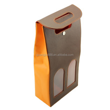 Luxury leather wine bag for 2 bottles wine carrier