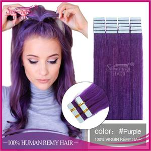 factory cheap 100% human hair extension tape hair China vendors wholesale purple color tape hair extension US