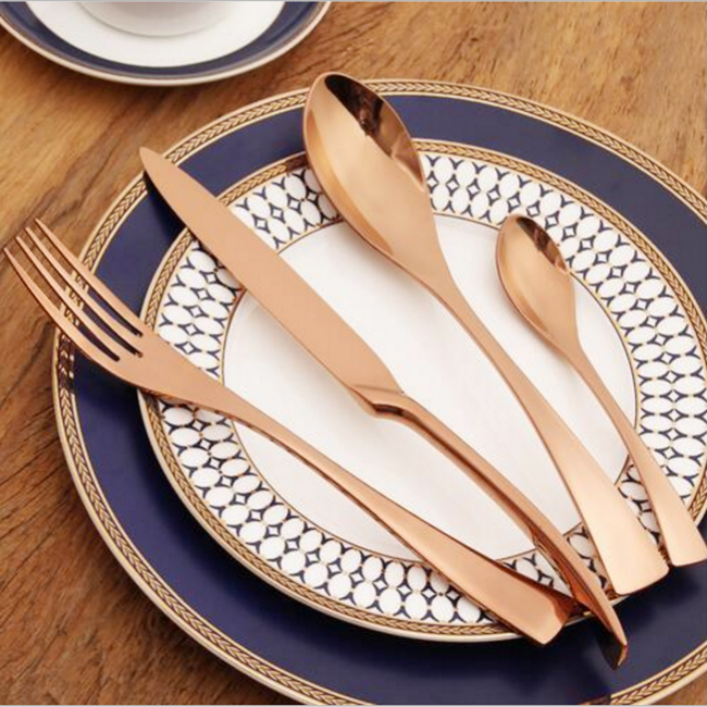 Luxury Stainless Steel Rose Gold Flatware
