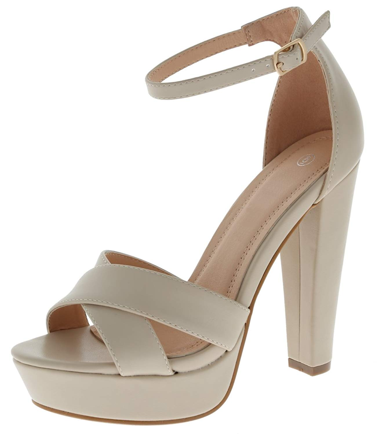 88d182577c3 Cambridge Select Women s Strappy Open Toe Crisscross Buckled Ankle Chunky  Platform High Heel Sandal