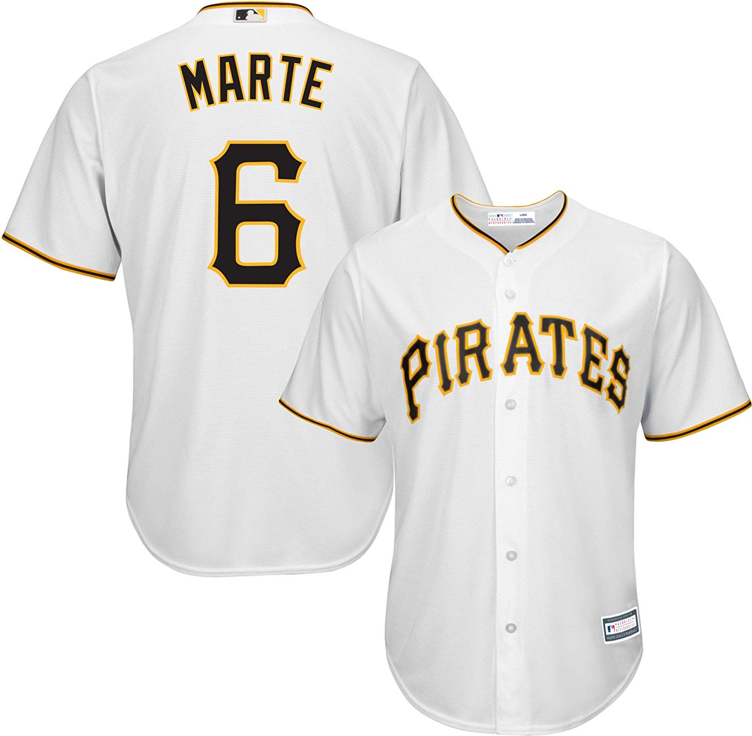 Outerstuff Starling Marte Pittsburgh Pirates White Youth Cool Base Home Replica Jersey