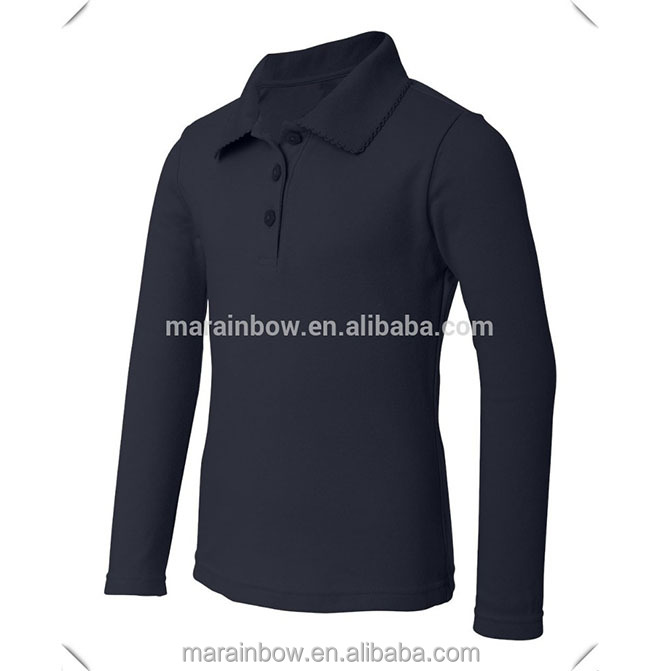 bb60f8db5 custom design long sleeve School Polo Shirts, top grade stylish girls' long  sleeve school uniforms low price best wholesale