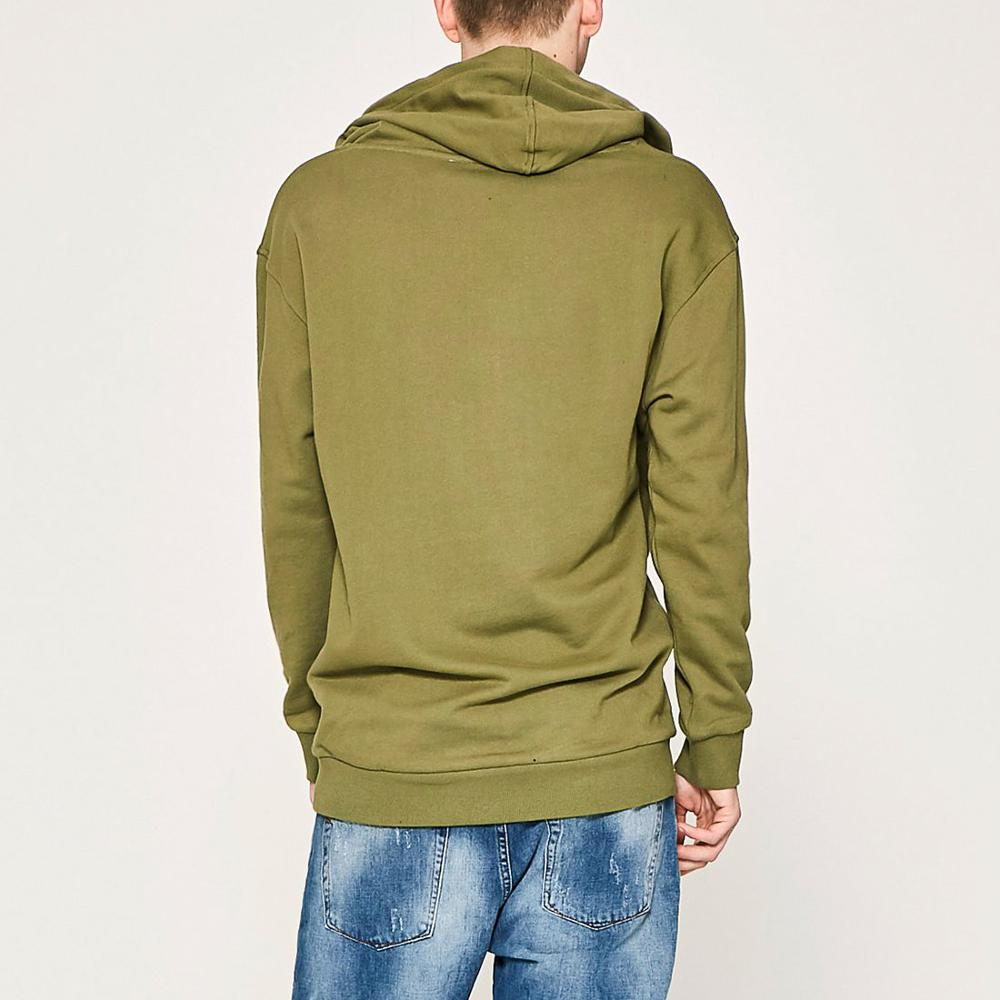Fashion Oversized French Terry Hoodie Plain Bulk Men's Hoodies In Olive Green