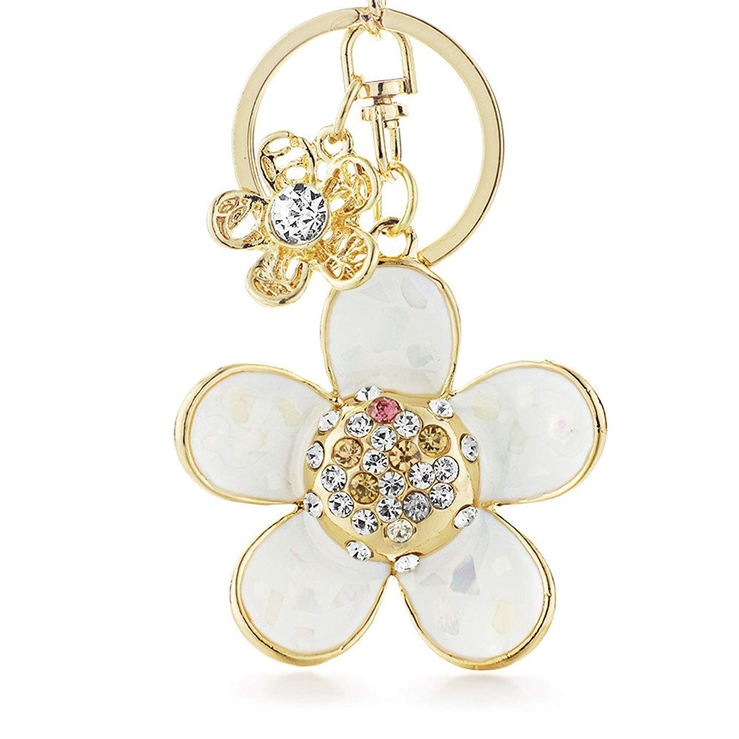 Novelty Shell Petals Double Flower Floral Crystal Rhinestone Keyrings Key Chains Holder Women Keychains