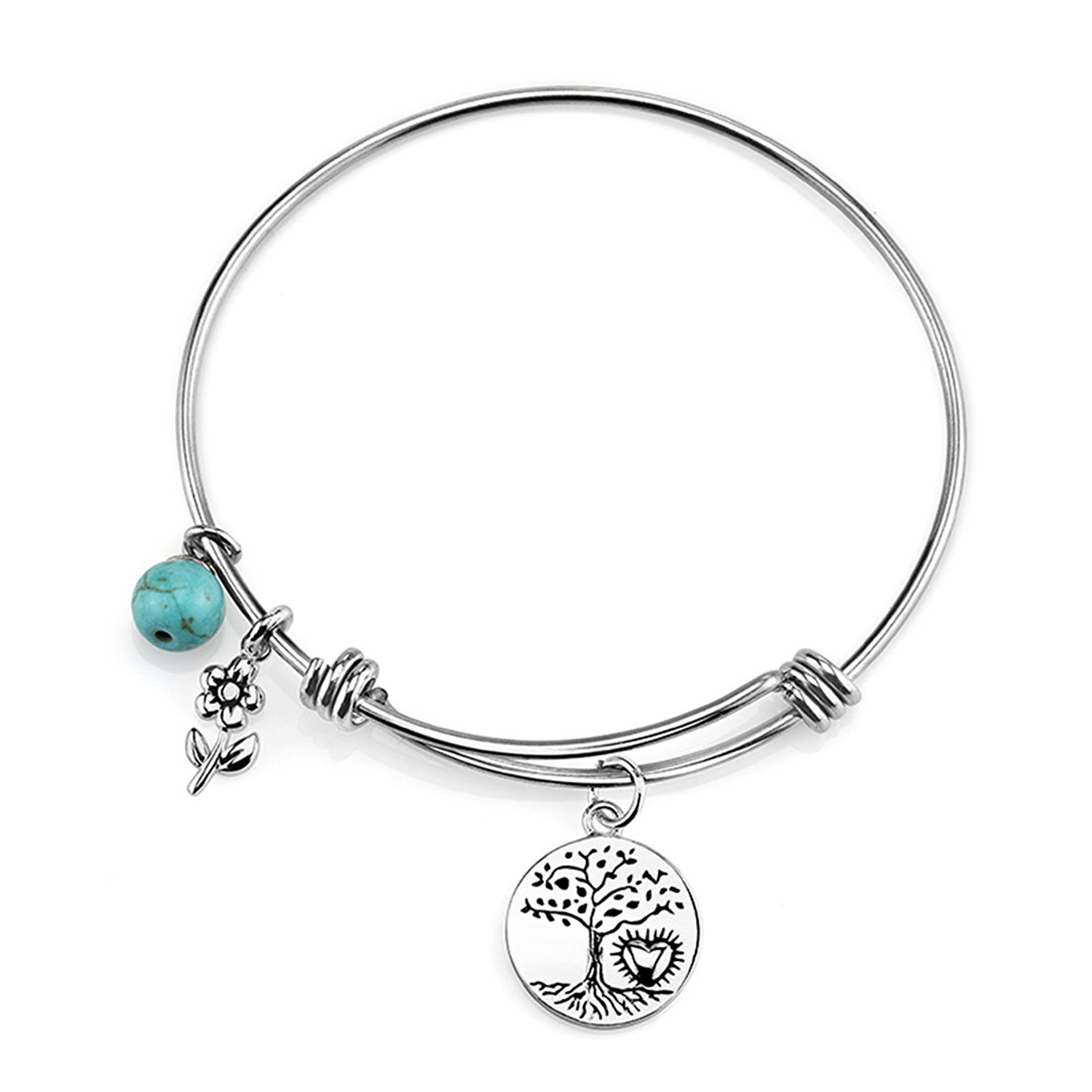 """Stainless Steel Expandable """"Where There Is Love There Is Life"""" Bangle Bracelet"""