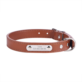 duopi new pu leather personalized laser dog collars free engraving