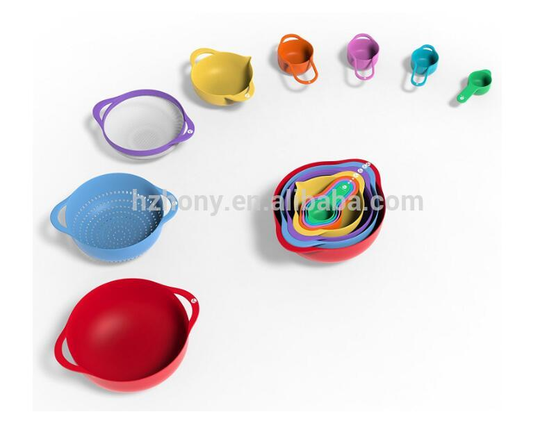 13 Piece Nesting Colorful Mixing Bowl Set with Measuring Cups and Spoons with Colander and Micro Strainer