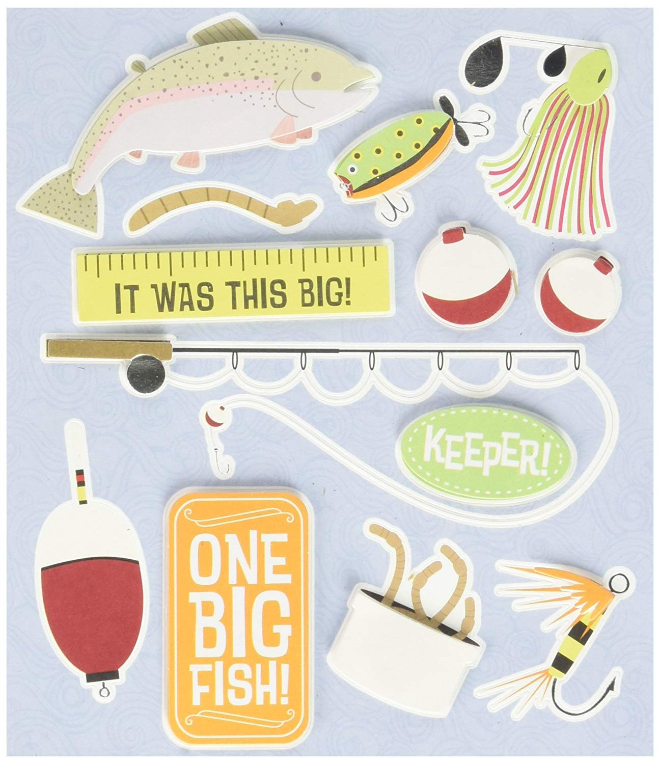 K&Company Life's Little Occasions Sticker Medley, Fishing