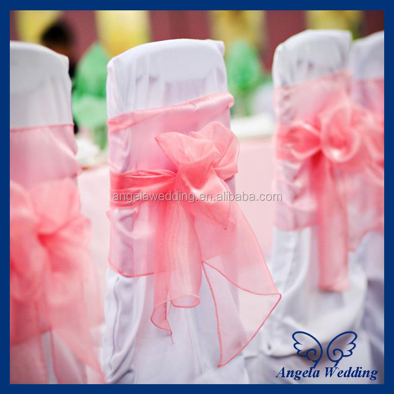 Wonderful SH016A Wholesale cheap beautiful wedding organza bow coral chair  PD24
