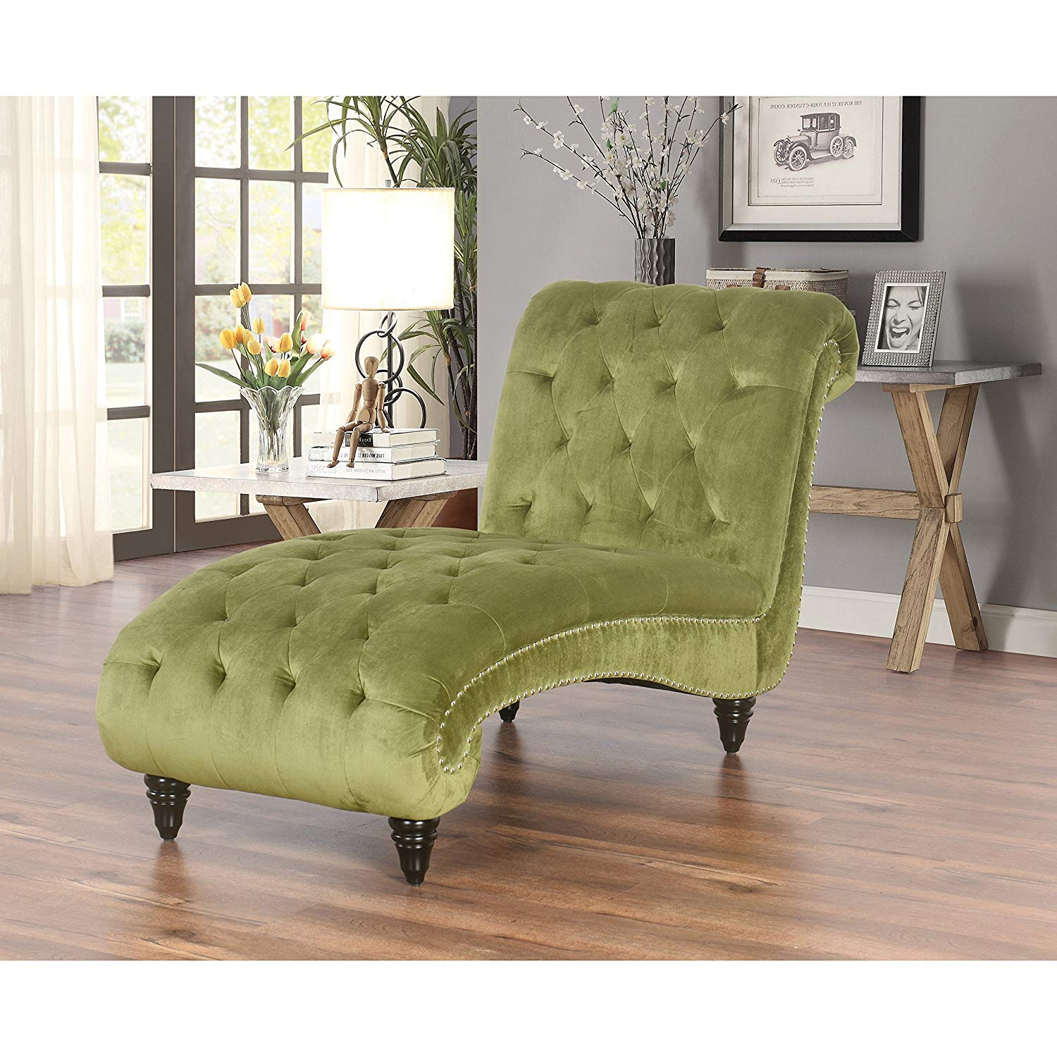 Transitional Tufted Velvet Upholstery Chaise Lounge Accent Chair with Nailheads and Espresso Finish Legs - Includes Modhaus Living Pen (Green)
