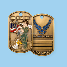 custom antique brass us eagle military dog tag
