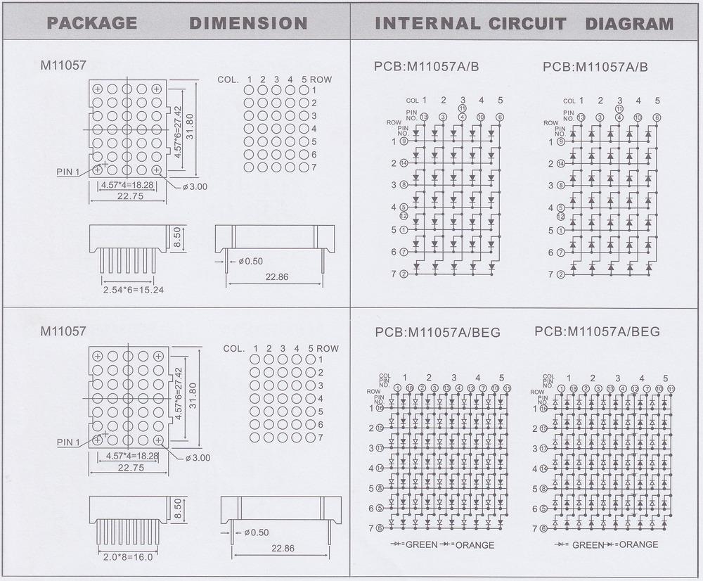 3mm Dot Led Matrix 5x7 Dot Matrix Blue 3mm Led Dot Matrix 5x7 Blue ...