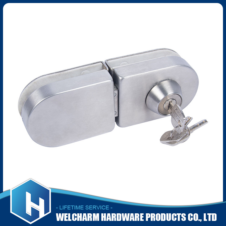 Single lock with key for glass door , strong single glass door lock