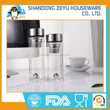 High quality Double Wall Glass Drink Tea Water Bottle With Tea Infuser / glass bottles with lids for drinking