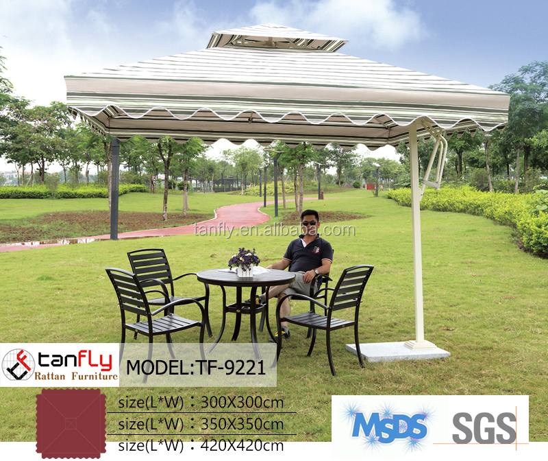 outdoor aluminum folding chair table with umbrella hole