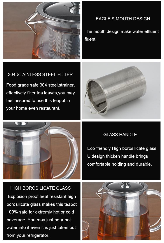Venta al por mayor 350 ml florece la flor claro té tetera de vidrio/té