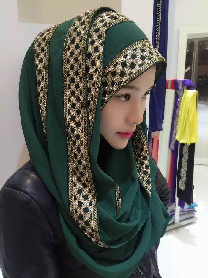 Customized Pattern Muslim Cotton Rivet Hijab Scarf Pure Color Large Size Studs Shawls Scarves