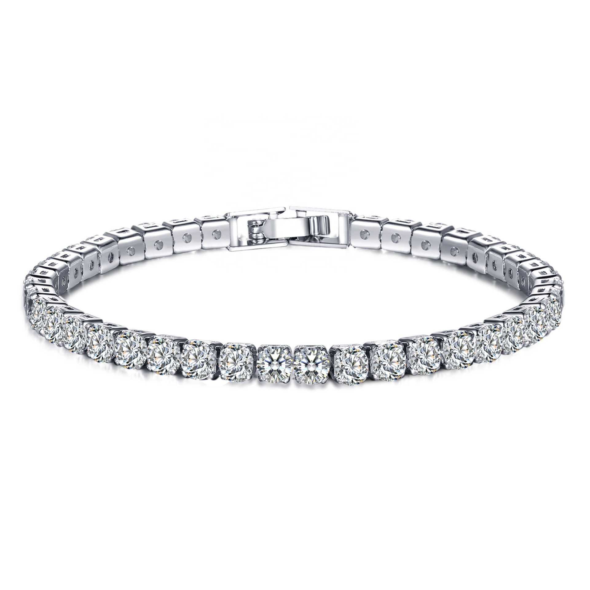 Simple Style 18k White Gold Plated <strong>Bracelet</strong> Jewelry Lady Luxury Cubic Austrian Crystal <strong>CZ</strong> <strong>Tennis</strong> <strong>Bracelet</strong> for Woman