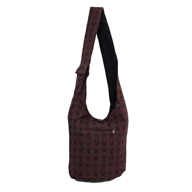 065db272c8 Get Quotations · Brown Cotton Sling Bag Purse Skull   Crossbones Design Crossbody  Hobo Bohemian