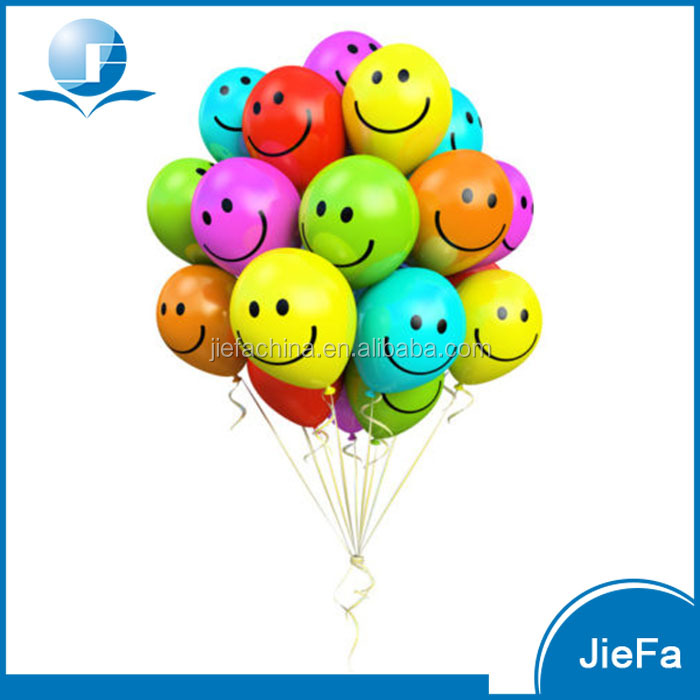 Bright Color Emoji Smile Face Latex Balloons 144 Packs (12 colors )