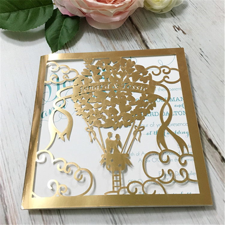 Hot air balloon design paper ornament christmas catalogs 2016 laser cut wedding invitation cards