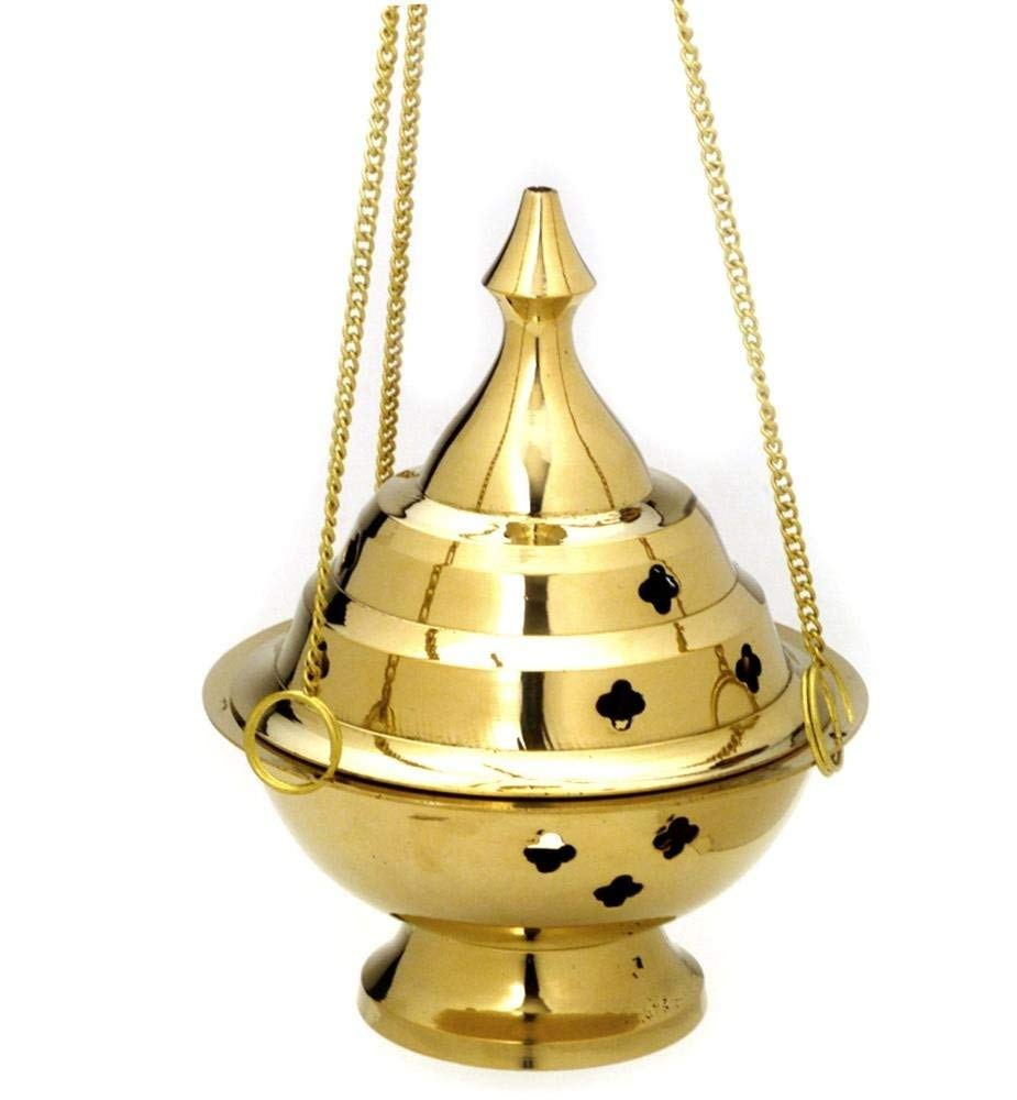 StealStreet SS-IA-BB042 6 Inch Hanging Brass Color Metal Incense Burner