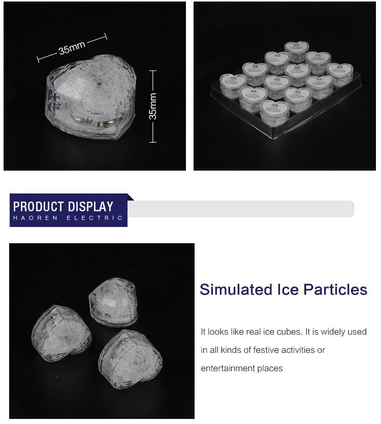 Wholesale LED heart Ice heart shape party flashing ice lights