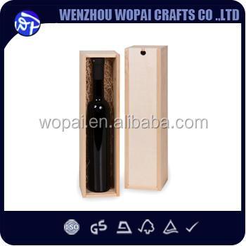 precio barato caja de madera del vino caja de vino de madera de pino caso