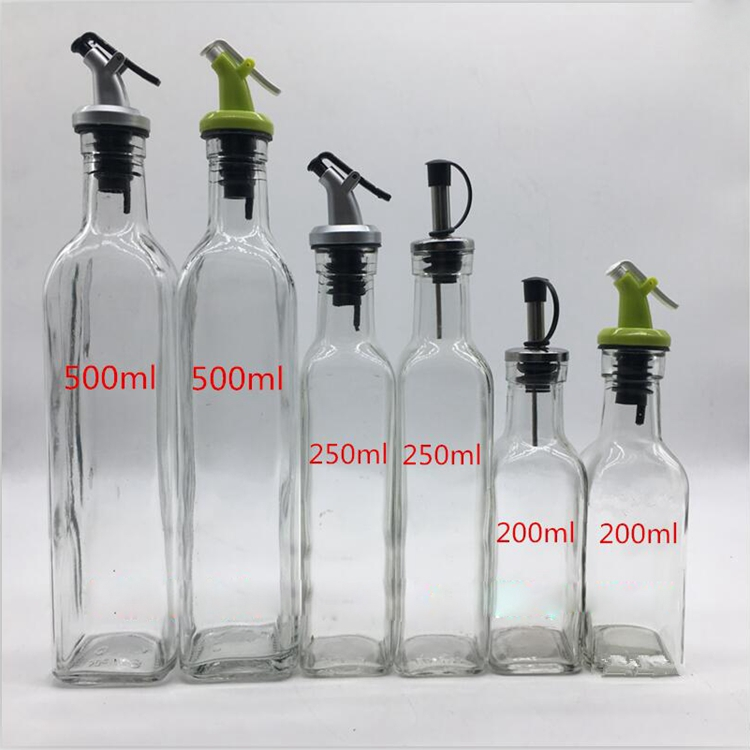 12oz Glass oil dispenser/spice holder Stainless Steel Nozzle Glass Oil Bottle / Vinegar Cruet
